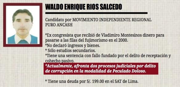 Ríos afronta dos procesos judiciales por delito de corrupción en la modalidad de peculado doloso. (Fuente: Ficha Lupita - Áncash)